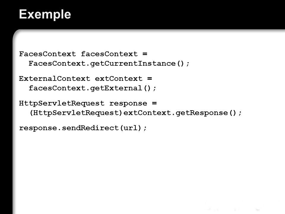 Exemple FacesContext facesContext = FacesContext.getCurrentInstance(); ExternalContext extContext = facesContext.getExternal(); HttpServletRequest response = (HttpServletRequest)extContext.getResponse(); response.sendRedirect(url);