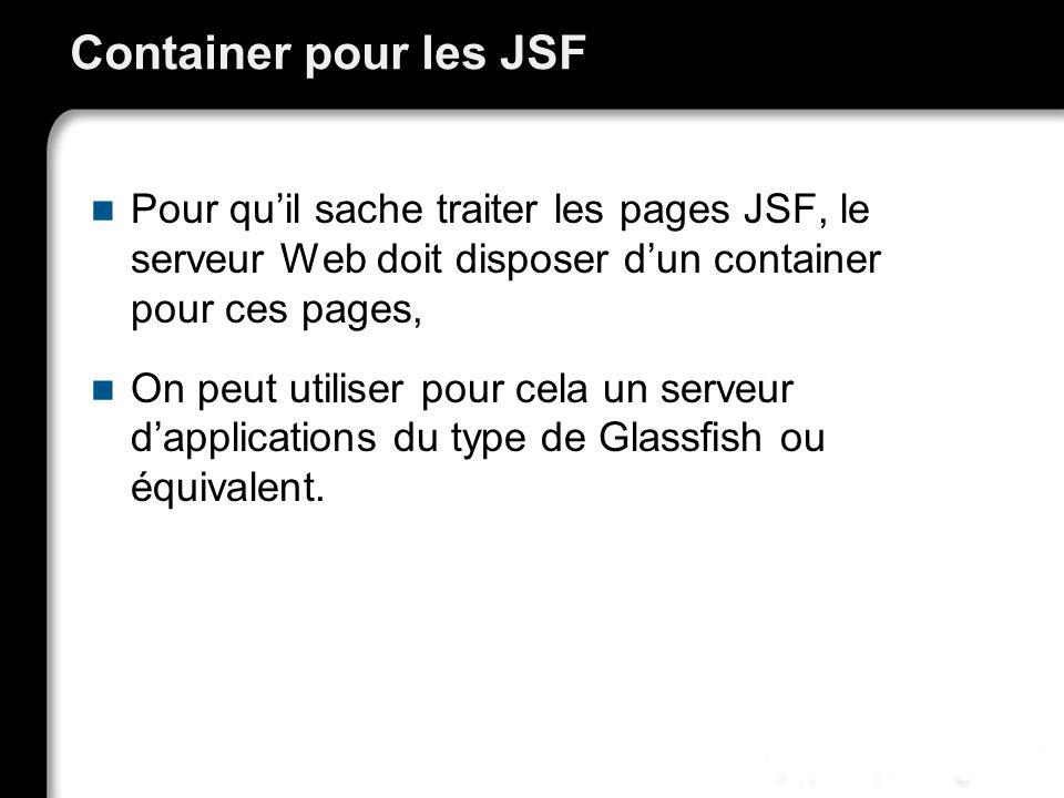 21/10/99Richard GrinJSF - page 18 Container pour les JSF Pour quil sache traiter les pages JSF, le serveur Web doit disposer dun container pour ces pages, On peut utiliser pour cela un serveur dapplications du type de Glassfish ou équivalent.