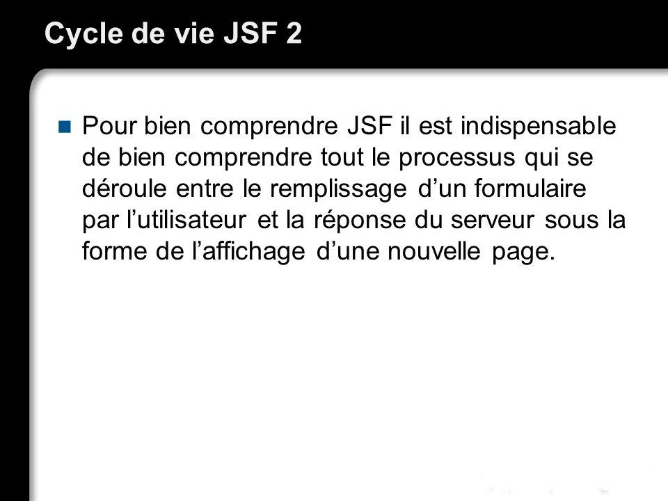 Cycle de vie JSF 2 Pour bien comprendre JSF il est indispensable de bien comprendre tout le processus qui se déroule entre le remplissage dun formulaire par lutilisateur et la réponse du serveur sous la forme de laffichage dune nouvelle page.