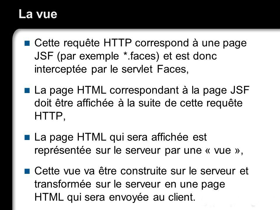 21/10/99Richard GrinJSF - page 28 La vue Cette requête HTTP correspond à une page JSF (par exemple *.faces) et est donc interceptée par le servlet Faces, La page HTML correspondant à la page JSF doit être affichée à la suite de cette requête HTTP, La page HTML qui sera affichée est représentée sur le serveur par une « vue », Cette vue va être construite sur le serveur et transformée sur le serveur en une page HTML qui sera envoyée au client.