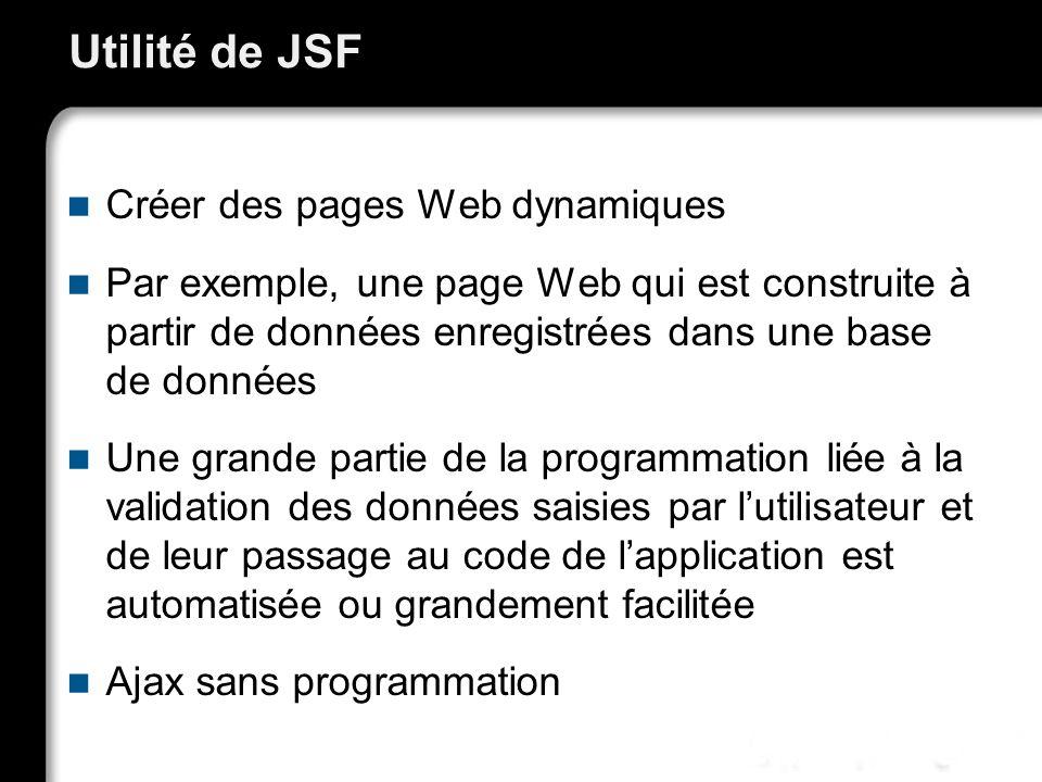 21/10/99Richard GrinJSF - page 4 Utilité de JSF Créer des pages Web dynamiques Par exemple, une page Web qui est construite à partir de données enregistrées dans une base de données Une grande partie de la programmation liée à la validation des données saisies par lutilisateur et de leur passage au code de lapplication est automatisée ou grandement facilitée Ajax sans programmation