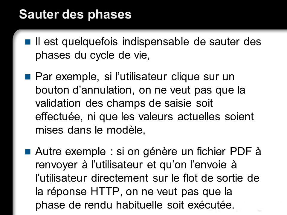 Sauter des phases Il est quelquefois indispensable de sauter des phases du cycle de vie, Par exemple, si lutilisateur clique sur un bouton dannulation, on ne veut pas que la validation des champs de saisie soit effectuée, ni que les valeurs actuelles soient mises dans le modèle, Autre exemple : si on génère un fichier PDF à renvoyer à lutilisateur et quon lenvoie à lutilisateur directement sur le flot de sortie de la réponse HTTP, on ne veut pas que la phase de rendu habituelle soit exécutée.