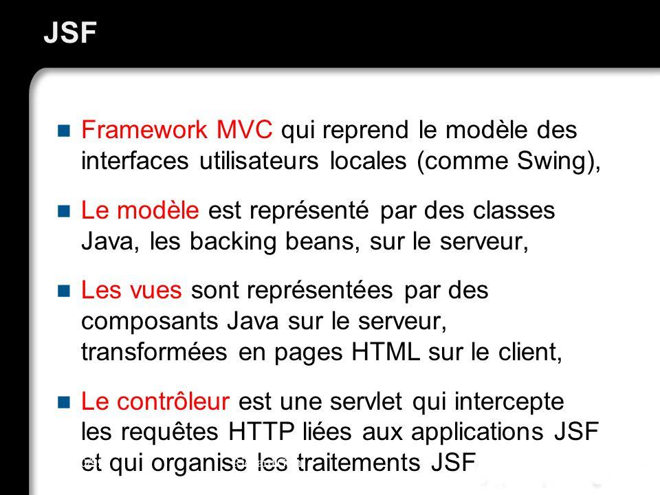 JSF Framework MVC qui reprend le modèle des interfaces utilisateurs locales (comme Swing), Le modèle est représenté par des classes Java, les backing