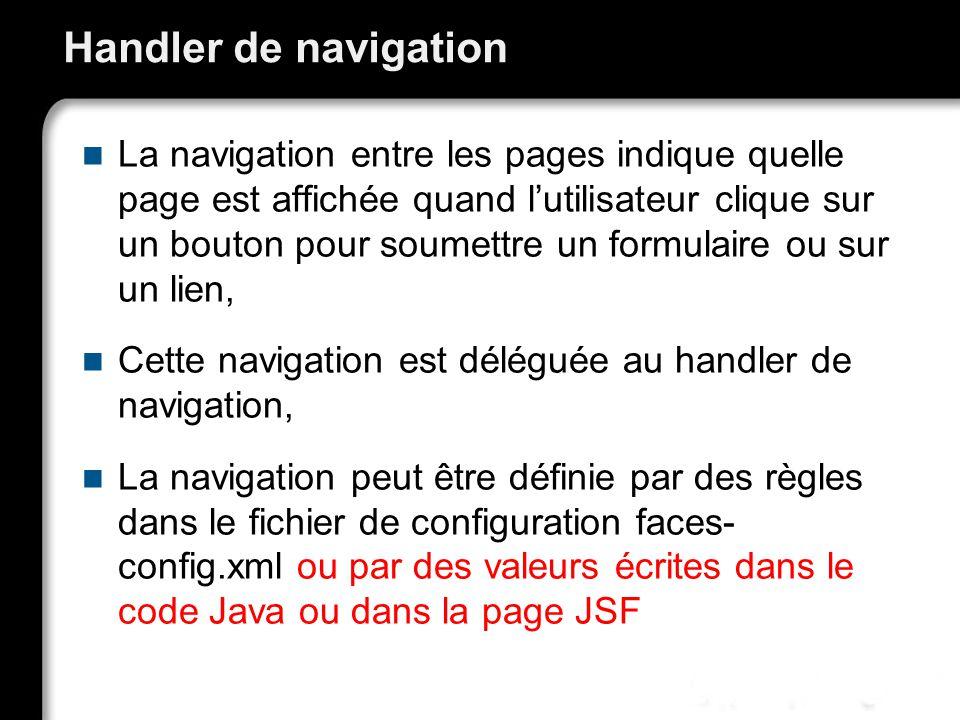 21/10/99Richard GrinJSF - page 51 Handler de navigation La navigation entre les pages indique quelle page est affichée quand lutilisateur clique sur un bouton pour soumettre un formulaire ou sur un lien, Cette navigation est déléguée au handler de navigation, La navigation peut être définie par des règles dans le fichier de configuration faces- config.xml ou par des valeurs écrites dans le code Java ou dans la page JSF