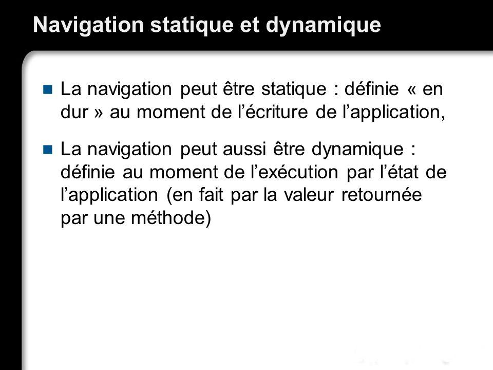 21/10/99Richard GrinJSF - page 52 Navigation statique et dynamique La navigation peut être statique : définie « en dur » au moment de lécriture de lapplication, La navigation peut aussi être dynamique : définie au moment de lexécution par létat de lapplication (en fait par la valeur retournée par une méthode)