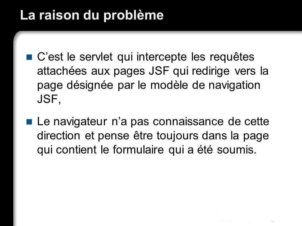 La raison du problème Cest le servlet qui intercepte les requêtes attachées aux pages JSF qui redirige vers la page désignée par le modèle de navigation JSF, Le navigateur na pas connaissance de cette direction et pense être toujours dans la page qui contient le formulaire qui a été soumis.