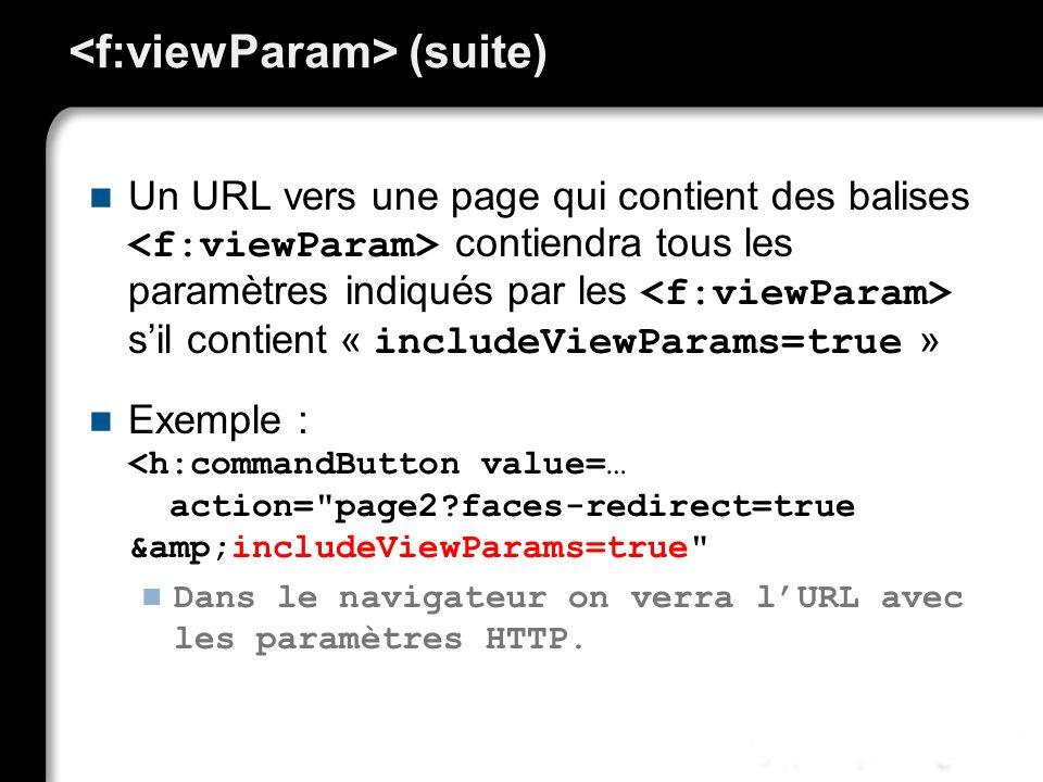 (suite) Un URL vers une page qui contient des balises contiendra tous les paramètres indiqués par les sil contient « includeViewParams=true » Exemple : <h:commandButton value=… action= page2?faces-redirect=true &includeViewParams=true Dans le navigateur on verra lURL avec les paramètres HTTP.