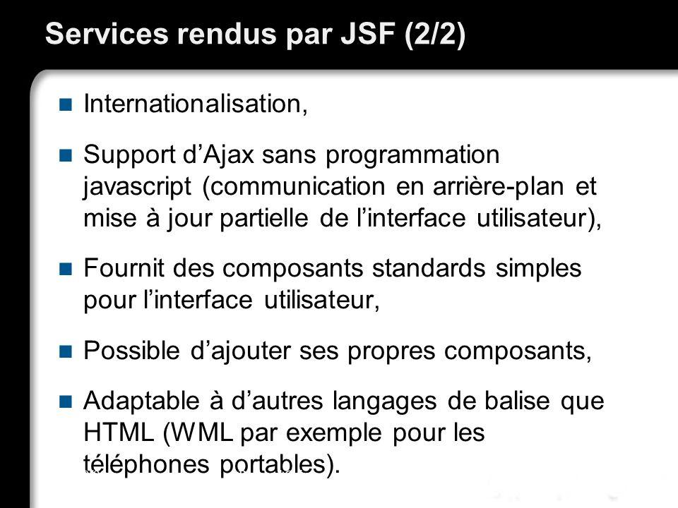 Services rendus par JSF (2/2) Internationalisation, Support dAjax sans programmation javascript (communication en arrière-plan et mise à jour partielle de linterface utilisateur), Fournit des composants standards simples pour linterface utilisateur, Possible dajouter ses propres composants, Adaptable à dautres langages de balise que HTML (WML par exemple pour les téléphones portables).