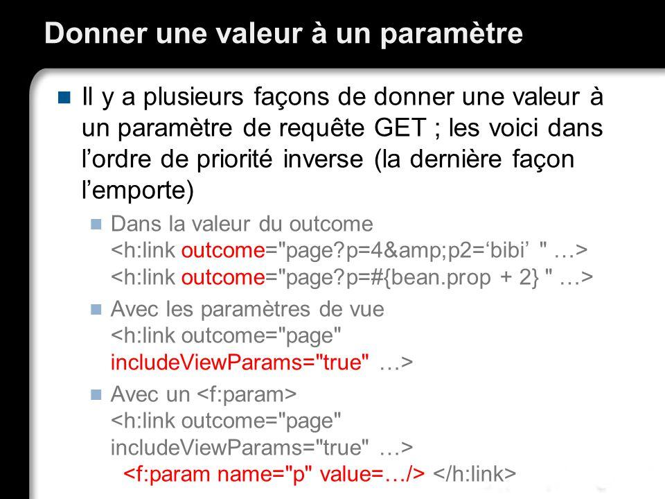 Donner une valeur à un paramètre Il y a plusieurs façons de donner une valeur à un paramètre de requête GET ; les voici dans lordre de priorité inverse (la dernière façon lemporte) Dans la valeur du outcome Avec les paramètres de vue Avec un