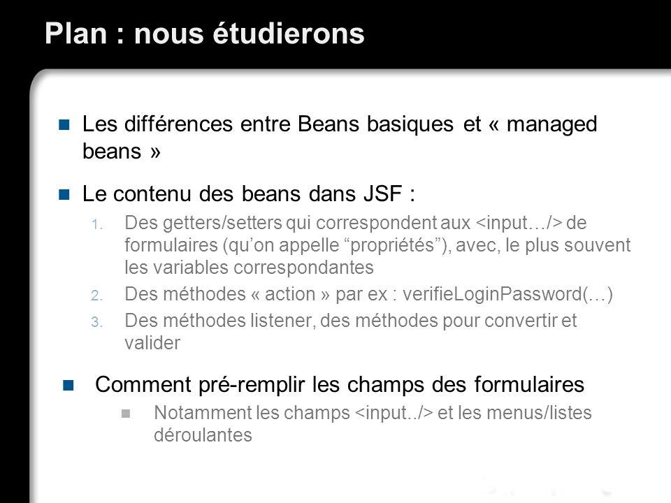 Plan : nous étudierons Les différences entre Beans basiques et « managed beans » Le contenu des beans dans JSF : 1. Des getters/setters qui correspond