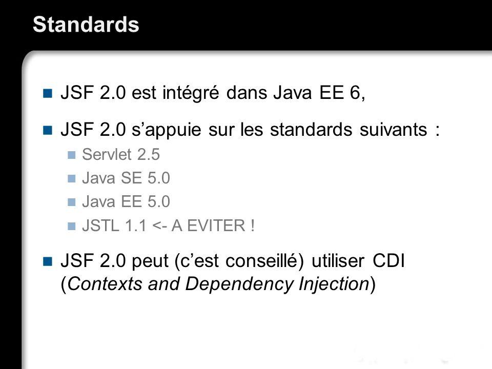 Standards JSF 2.0 est intégré dans Java EE 6, JSF 2.0 sappuie sur les standards suivants : Servlet 2.5 Java SE 5.0 Java EE 5.0 JSTL 1.1 <- A EVITER !