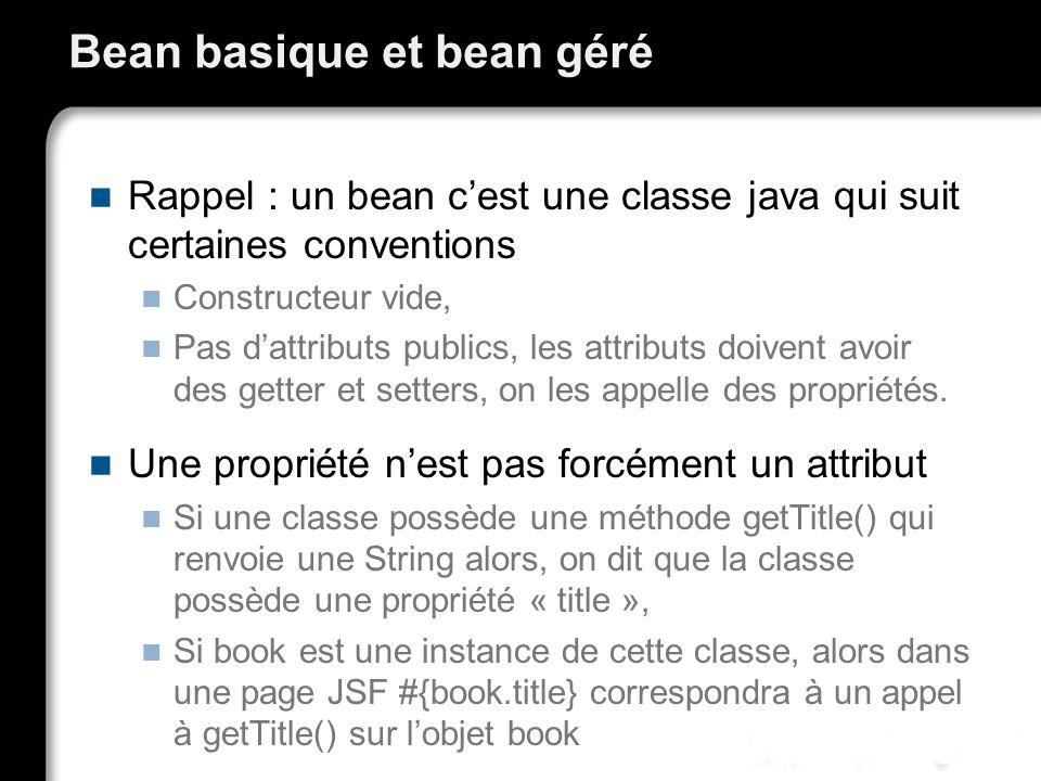 Bean basique et bean géré Rappel : un bean cest une classe java qui suit certaines conventions Constructeur vide, Pas dattributs publics, les attributs doivent avoir des getter et setters, on les appelle des propriétés.