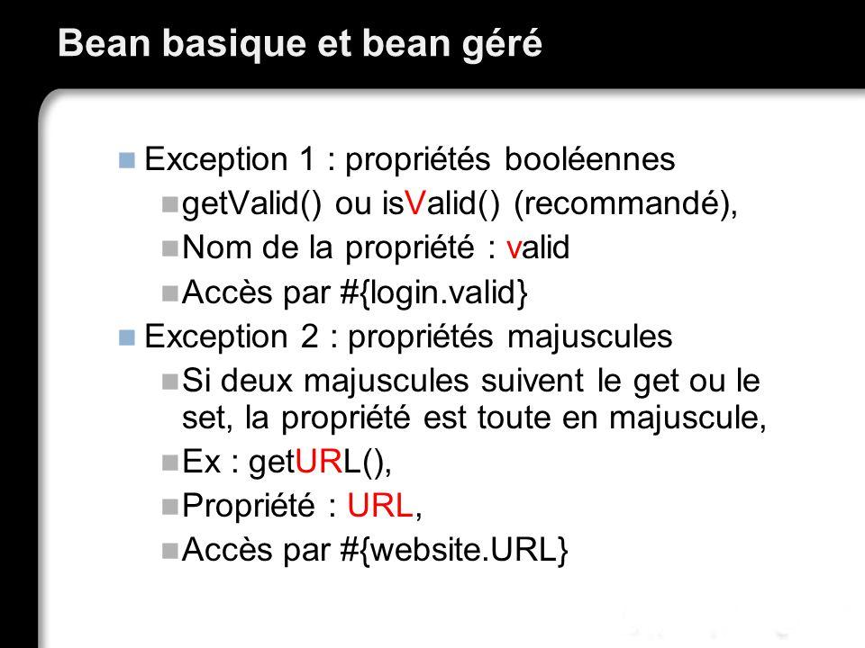 Bean basique et bean géré Exception 1 : propriétés booléennes getValid() ou isValid() (recommandé), Nom de la propriété : valid Accès par #{login.valid} Exception 2 : propriétés majuscules Si deux majuscules suivent le get ou le set, la propriété est toute en majuscule, Ex : getURL(), Propriété : URL, Accès par #{website.URL}