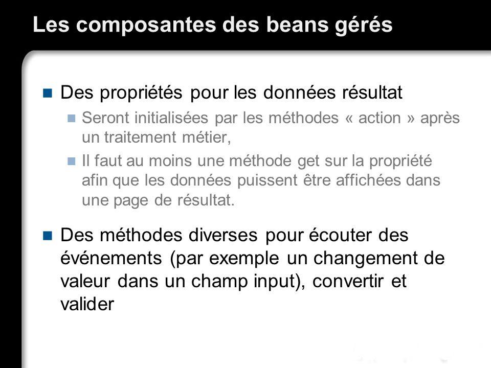 Les composantes des beans gérés Des propriétés pour les données résultat Seront initialisées par les méthodes « action » après un traitement métier, I