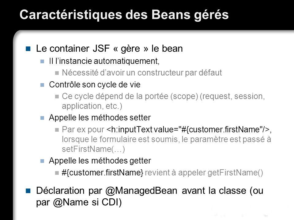 Caractéristiques des Beans gérés Le container JSF « gère » le bean Il linstancie automatiquement, Nécessité davoir un constructeur par défaut Contrôle son cycle de vie Ce cycle dépend de la portée (scope) (request, session, application, etc.) Appelle les méthodes setter Par ex pour, lorsque le formulaire est soumis, le paramètre est passé à setFirstName(…) Appelle les méthodes getter #{customer.firstName} revient à appeler getFirstName() Déclaration par @ManagedBean avant la classe (ou par @Name si CDI)