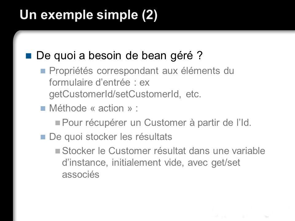 Un exemple simple (2) De quoi a besoin de bean géré ? Propriétés correspondant aux éléments du formulaire dentrée : ex getCustomerId/setCustomerId, et