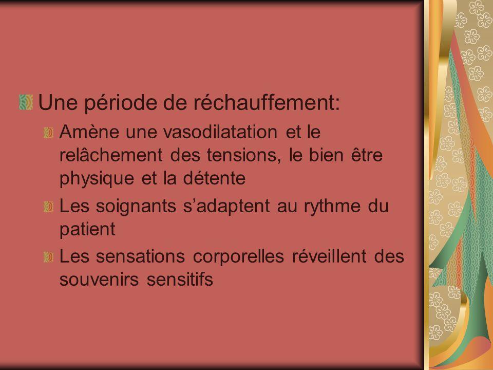 Une période de réchauffement: Amène une vasodilatation et le relâchement des tensions, le bien être physique et la détente Les soignants sadaptent au
