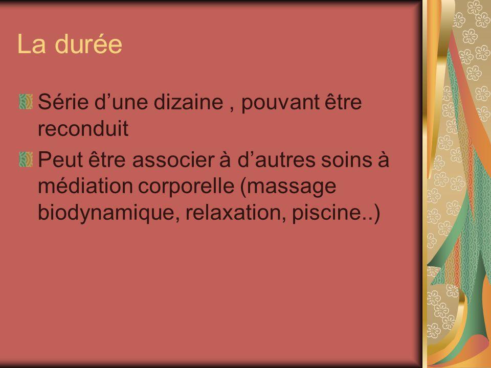 La durée Série dune dizaine, pouvant être reconduit Peut être associer à dautres soins à médiation corporelle (massage biodynamique, relaxation, pisci