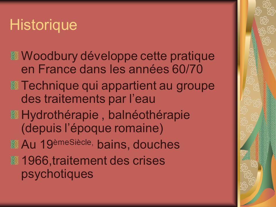 Historique Woodbury développe cette pratique en France dans les années 60/70 Technique qui appartient au groupe des traitements par leau Hydrothérapie