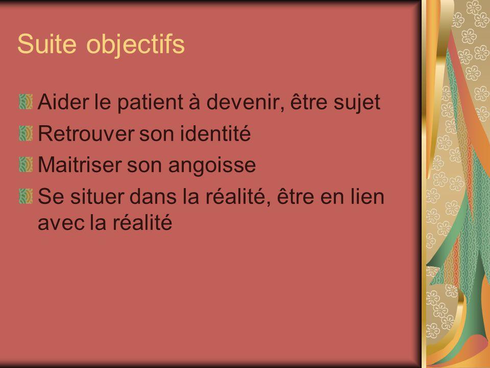 Suite objectifs Aider le patient à devenir, être sujet Retrouver son identité Maitriser son angoisse Se situer dans la réalité, être en lien avec la r