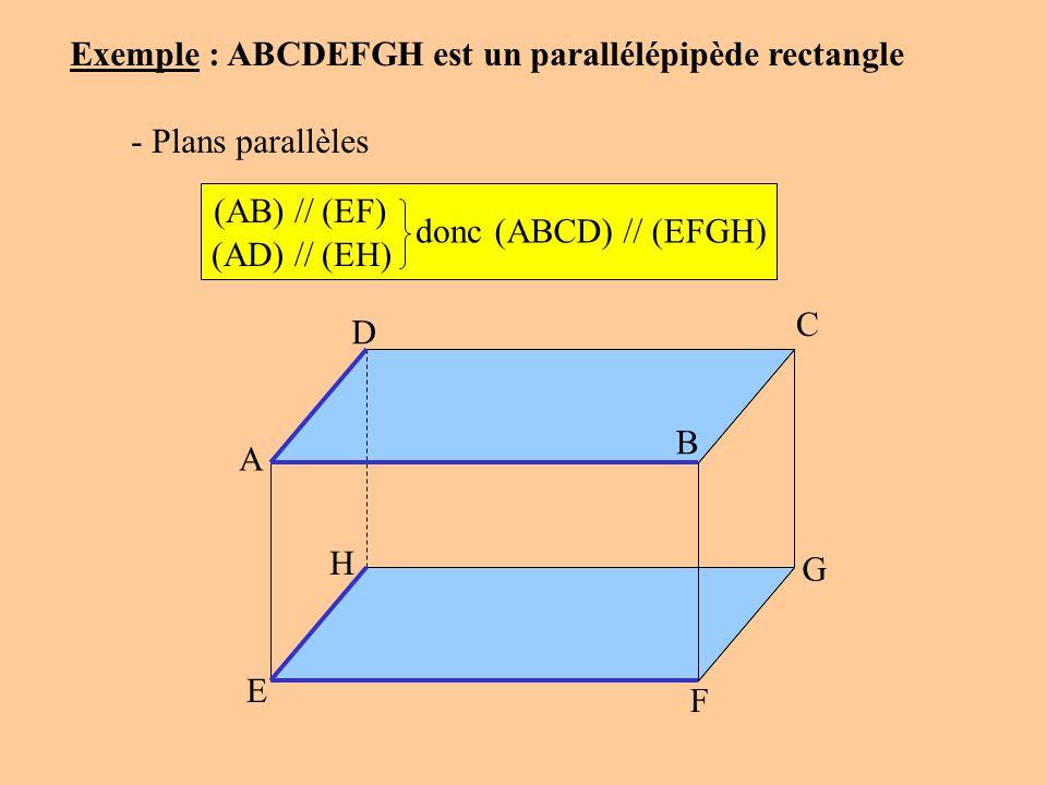 Exemple : ABCDEFGH est un parallélépipède rectangle - Plans parallèles (AB) // (EF) (ABCD) // (EFGH) (AD) // (EH) donc A D C B G F E H
