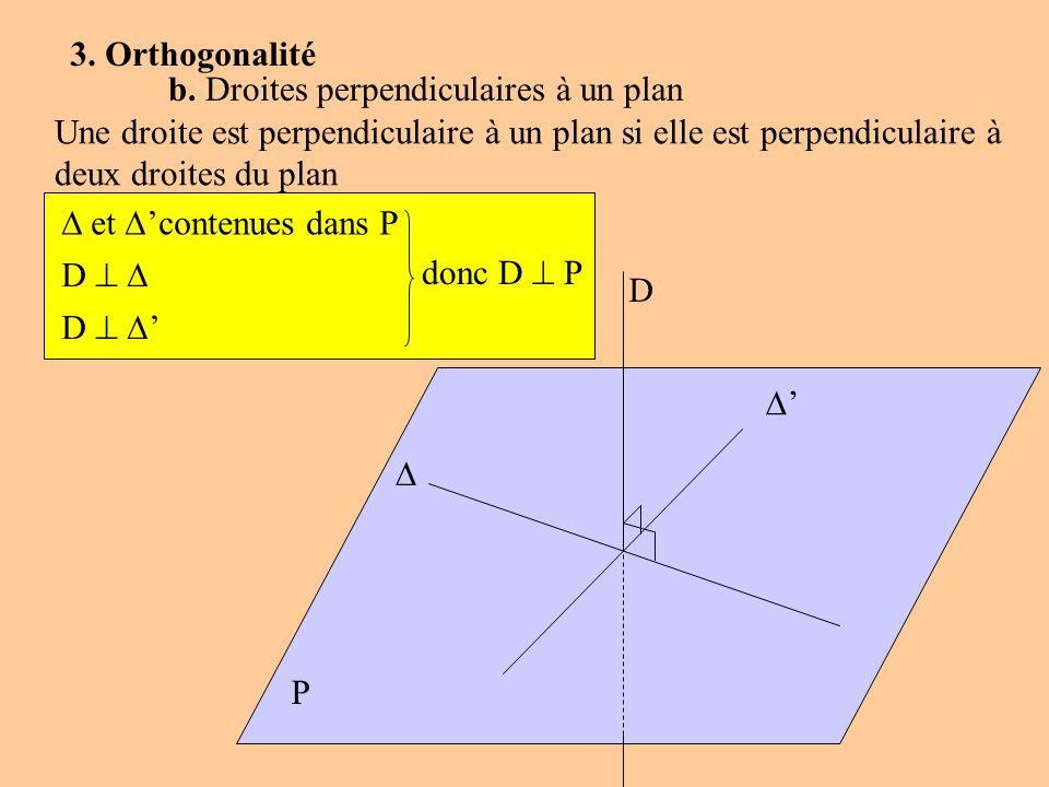 P D 3. Orthogonalité b. Droites perpendiculaires à un plan Une droite est perpendiculaire à un plan si elle est perpendiculaire à deux droites du plan