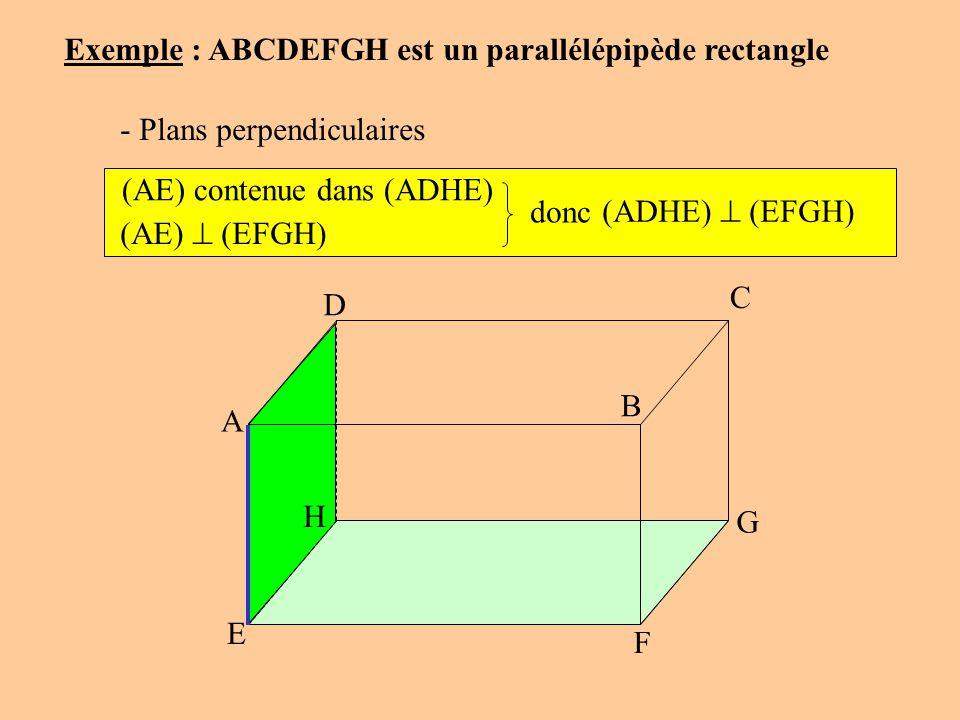 C Exemple : ABCDEFGH est un parallélépipède rectangle - Plans perpendiculaires (AE) contenue dans (ADHE) (AE) (EFGH) donc (ADHE) (EFGH) A D B G F E H