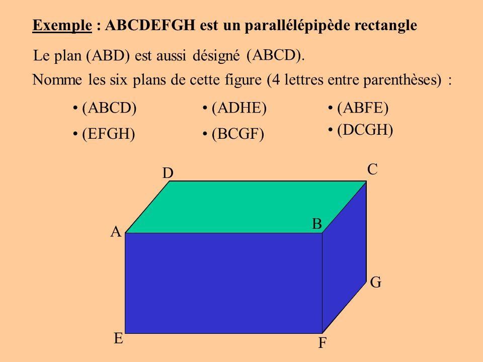 A D C B G F E H Exemple : ABCDEFGH est un parallélépipède rectangle Le plan (ABD) est aussi désigné (ABCD). Nomme les six plans de cette figure (4 let