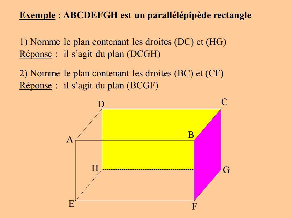 A D C B G F E H Exemple : ABCDEFGH est un parallélépipède rectangle 1) Nomme le plan contenant les droites (DC) et (HG) Réponse :il sagit du plan (DCG