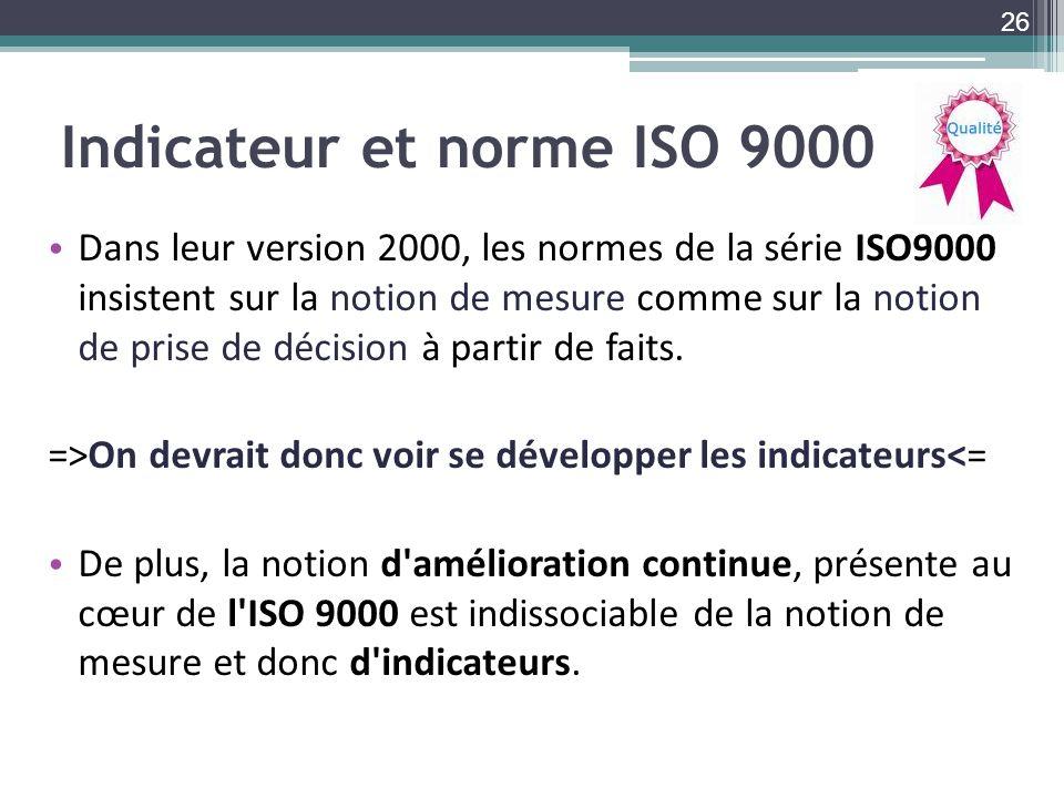 Indicateur et norme ISO 9000 Dans leur version 2000, les normes de la série ISO9000 insistent sur la notion de mesure comme sur la notion de prise de décision à partir de faits.