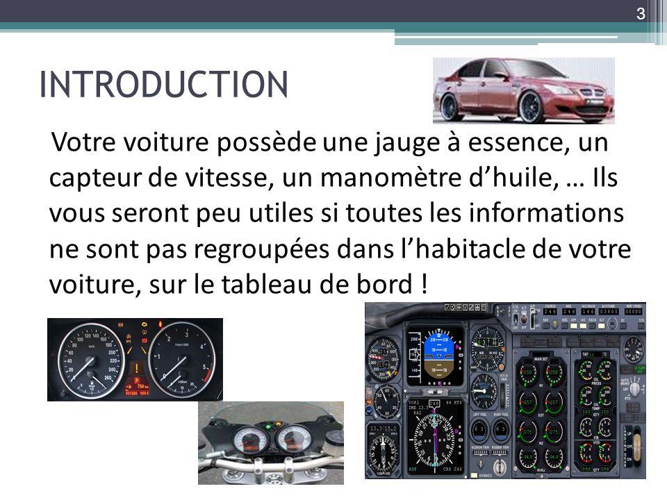 INTRODUCTION Votre voiture possède une jauge à essence, un capteur de vitesse, un manomètre dhuile, … Ils vous seront peu utiles si toutes les informa
