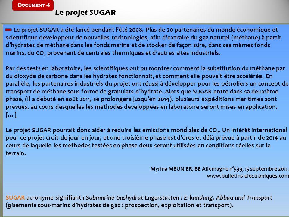 Document 4 Le projet SUGAR Le projet SUGAR a été lancé pendant lété 2008. Plus de 20 partenaires du monde économique et scientifique développent de no