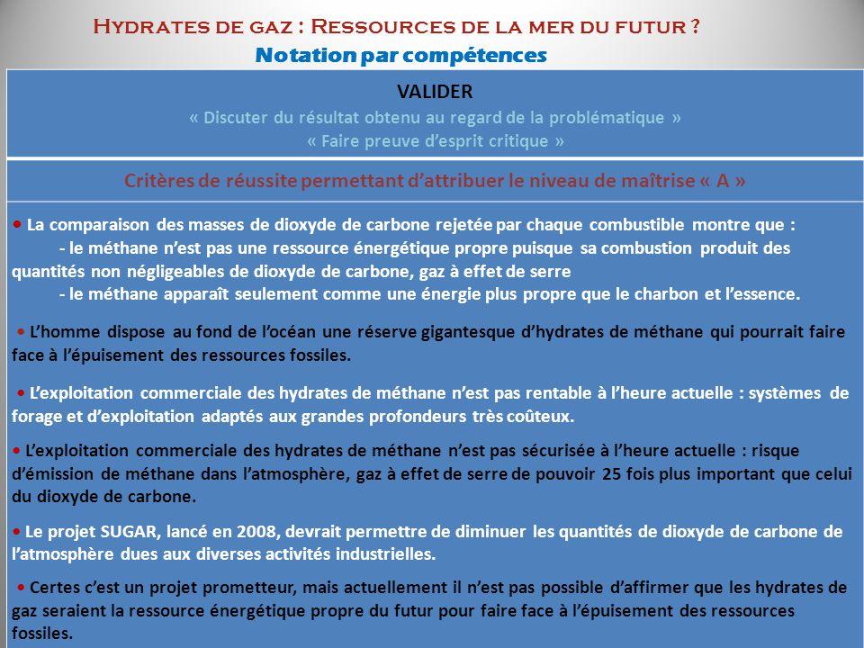 Hydrates de gaz : Ressources de la mer du futur ? Notation par compétences VALIDER « Discuter du résultat obtenu au regard de la problématique » « Fai