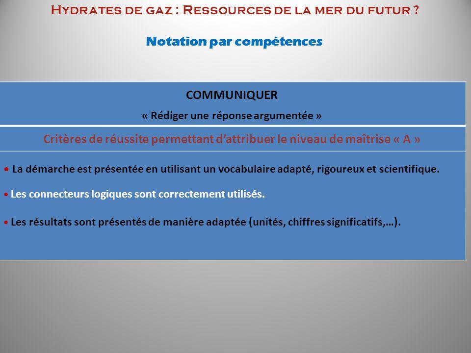 Hydrates de gaz : Ressources de la mer du futur ? Notation par compétences COMMUNIQUER « Rédiger une réponse argumentée » Critères de réussite permett