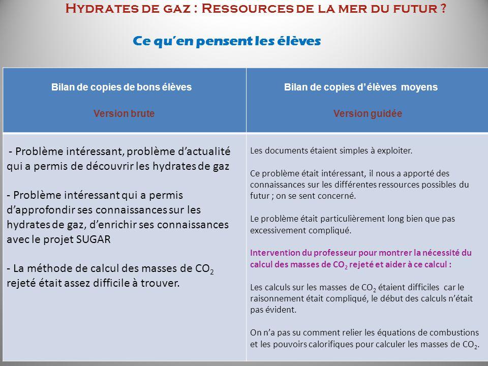 Hydrates de gaz : Ressources de la mer du futur ? Ce quen pensent les élèves Bilan de copies de bons élèves Version brute Bilan de copies d élèves moy
