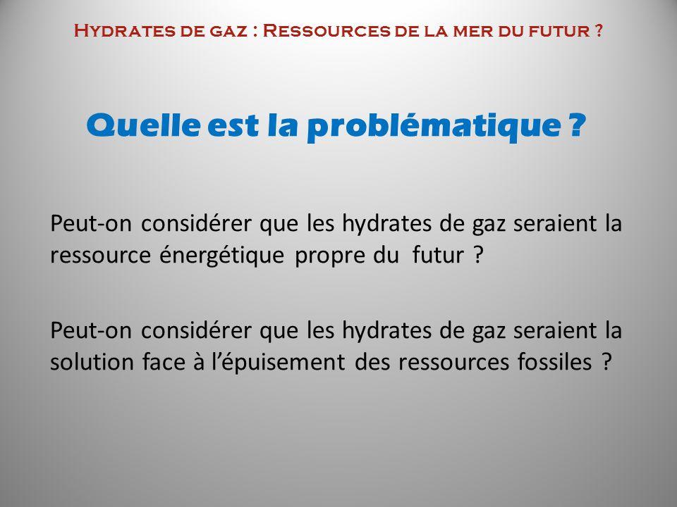 Hydrates de gaz : Ressources de la mer du futur ? Quelle est la problématique ? Peut-on considérer que les hydrates de gaz seraient la ressource énerg