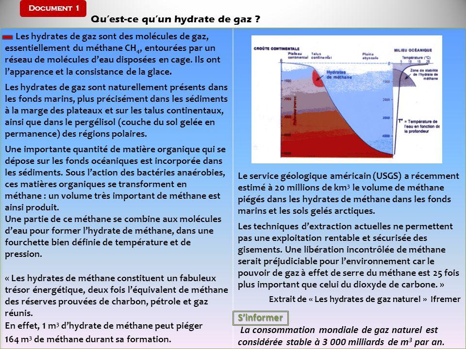 Document 1 Quest-ce quun hydrate de gaz ? Les hydrates de gaz sont des molécules de gaz, essentiellement du méthane CH 4, entourées par un réseau de m