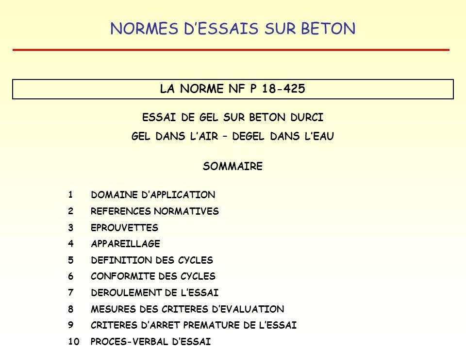 NORMES DESSAIS SUR BETON LA NORME NF P 18-425 ESSAI DE GEL SUR BETON DURCI GEL DANS LAIR – DEGEL DANS LEAU SOMMAIRE 1 DOMAINE DAPPLICATION 2REFERENCES