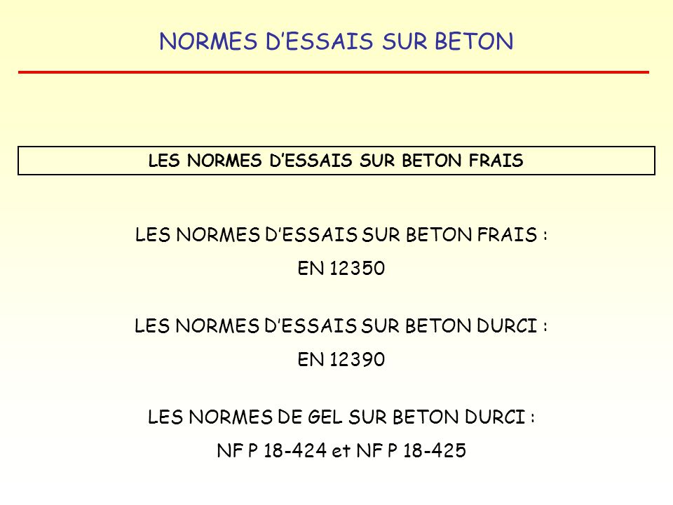 NORMES DESSAIS SUR BETON LA NORME NF P 18-425 ESSAI DE GEL SUR BETON DURCI GEL DANS LEAU – DEGEL DANS LEAU CRITERES DEVALUATION MESURE DU GONFLEMENT : µm/m MESURE DE LA VARIATION DE LONGUEUR MESURE DE LA FREQUENCE DE RESONNANCE avec Fo : fréquence de résonnance à lorigine Fn : fréquence de résonnance à léchéance n Fn² Fo² X 100