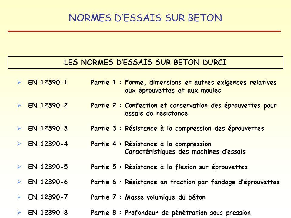 NORMES DESSAIS SUR BETON EN 12390-1Partie 1 : Forme, dimensions et autres exigences relatives aux éprouvettes et aux moules EN 12390-2Partie 2 : Confe
