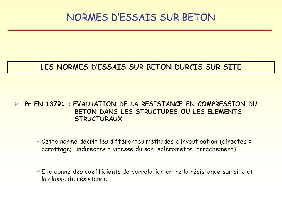 NORMES DESSAIS SUR BETON LES NORMES DESSAIS SUR BETON DURCIS SUR SITE Pr EN 13791 : EVALUATION DE LA RESISTANCE EN COMPRESSION DU BETON DANS LES STRUC