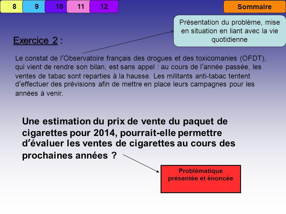 Exercice 2 : Le constat de lObservatoire français des drogues et des toxicomanies (OFDT), qui vient de rendre son bilan, est sans appel : au cours de lannée passée, les ventes de tabac sont reparties à la hausse.