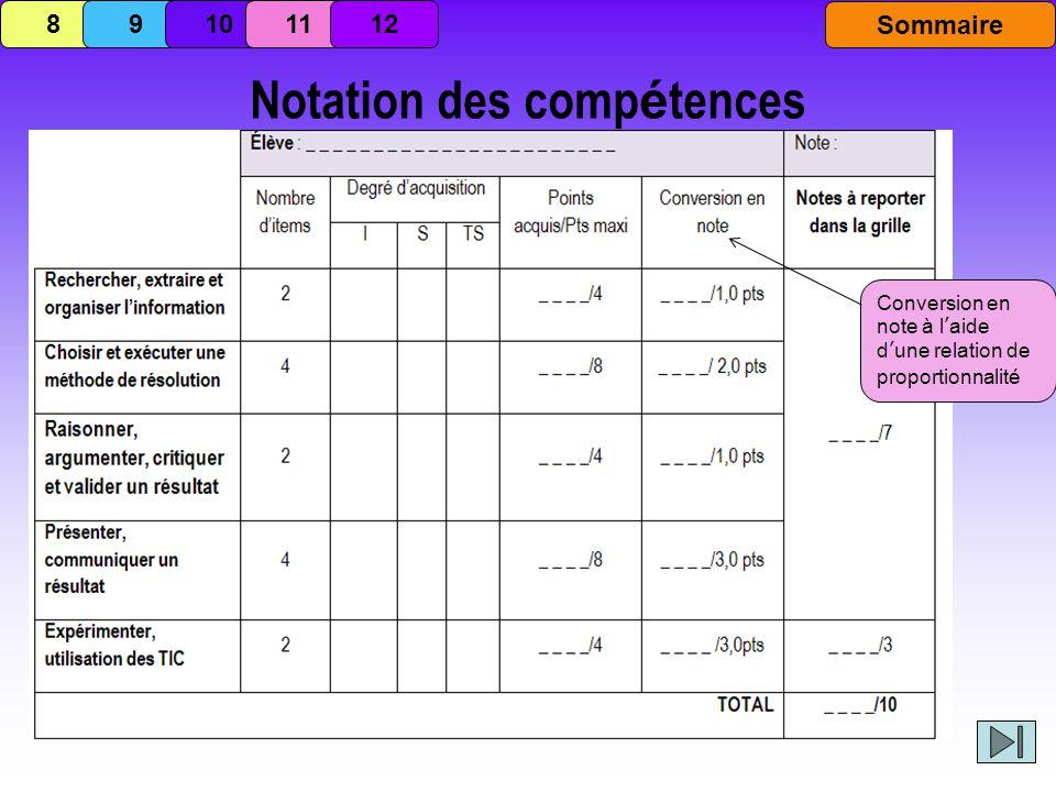 Notation des comp é tences Conversion en note à laide dune relation de proportionnalité 8 9 101112 Sommaire