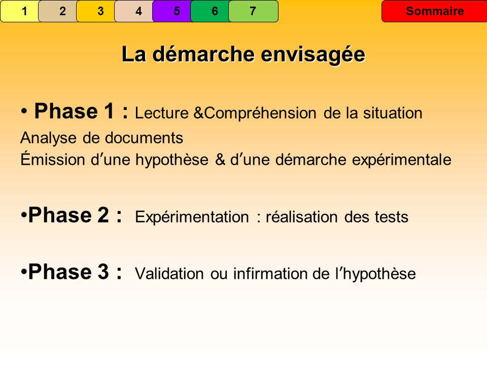 Phase 1 : Lecture &Compréhension de la situation Analyse de documents Émission dune hypothèse & dune démarche expérimentale Phase 2 : Expérimentation : réalisation des tests Phase 3 : Validation ou infirmation de lhypothèse 1234567 Sommaire La démarche envisagée 1234567Sommaire