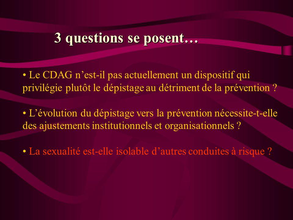 Le CDAG nest-il pas actuellement un dispositif qui privilégie plutôt le dépistage au détriment de la prévention ? Lévolution du dépistage vers la prév