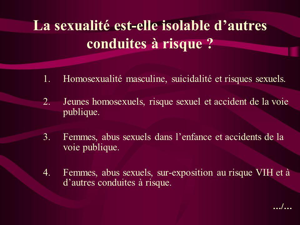 La sexualité est-elle isolable dautres conduites à risque ? 1.Homosexualité masculine, suicidalité et risques sexuels. 2.Jeunes homosexuels, risque se