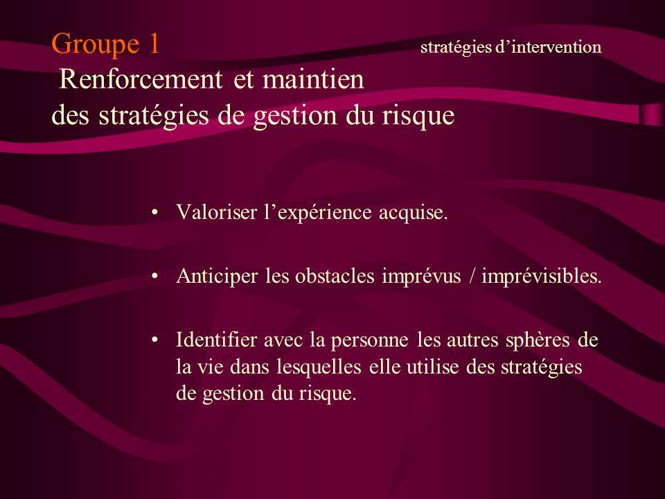 Groupe 1 stratégies dintervention Renforcement et maintien des stratégies de gestion du risque Valoriser lexpérience acquise. Anticiper les obstacles