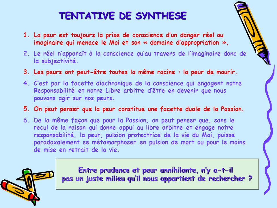 TENTATIVE DE SYNTHESE 1.