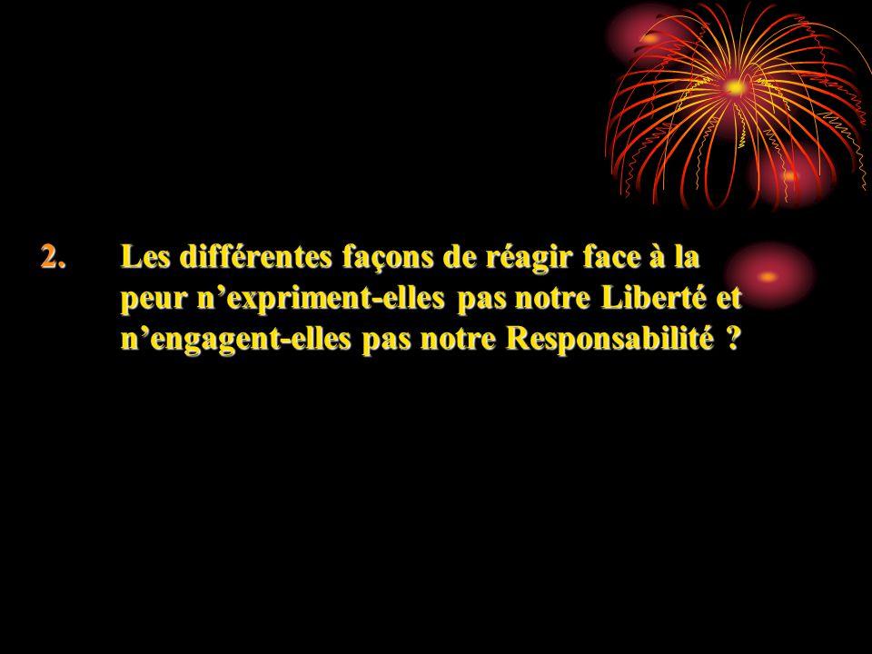 2.Les différentes façons de réagir face à la peur nexpriment-elles pas notre Liberté et nengagent-elles pas notre Responsabilité ? 2.Les différentes f