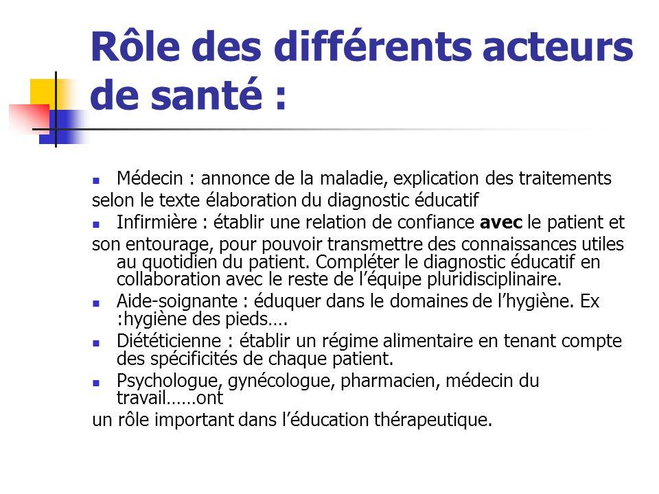Rôle des différents acteurs de santé : Médecin : annonce de la maladie, explication des traitements selon le texte élaboration du diagnostic éducatif